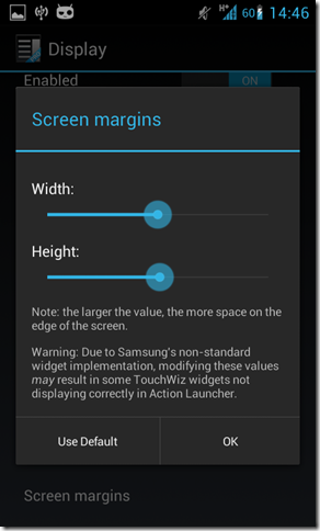 screen margins