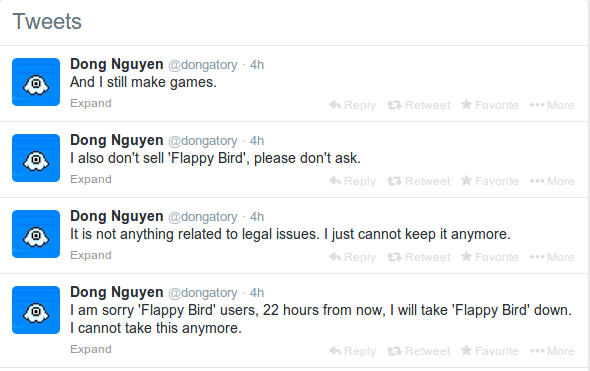 Snapshot of Dong Nguyen's tweets highlighting about taking down Flappy Bird