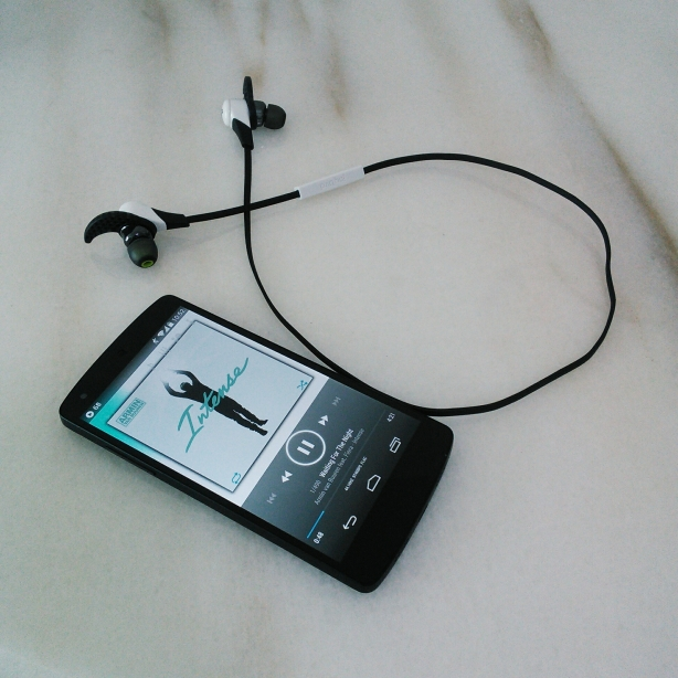 Jaybird Bluebuds X paired with Nexus 5 playing Waiting for the Night by Armin Van Buuren
