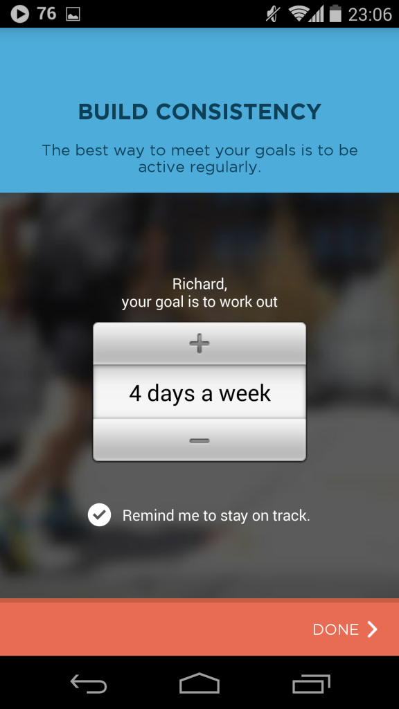 Workout Trainer's feature - setting to change weekly target to keep track.