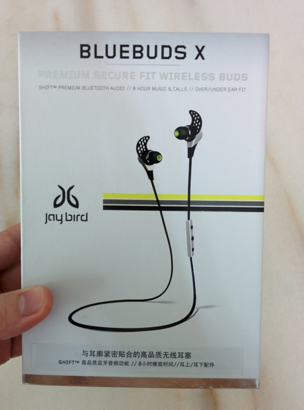 Jaybird Bluebuds X box, held in hand